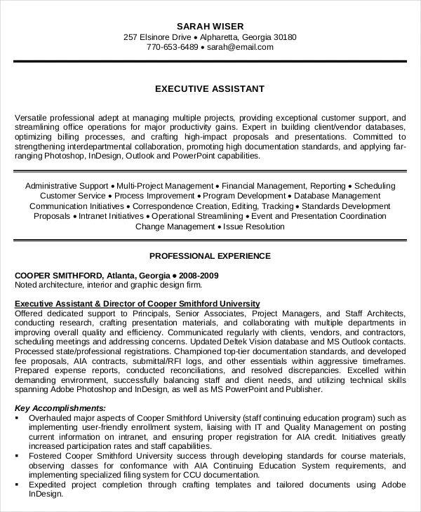 executive assistant summary resume sample