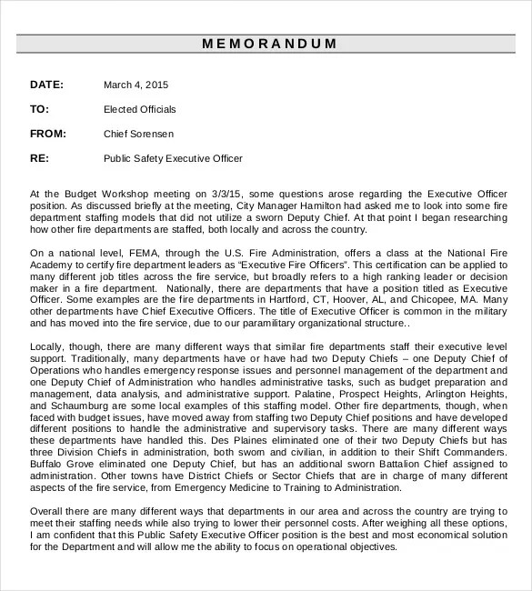 Executive Memo Template - 7+ Word, Excel, PDF Documents Download