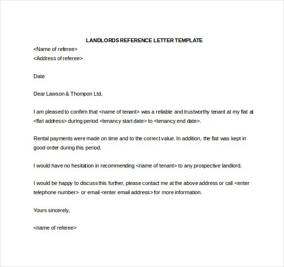 17+ Word Reference Letters Free Download Free \ Premium Templates - landlord reference letter