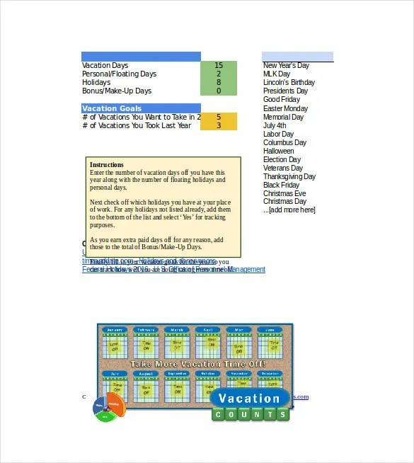 Vacation Tracking Template u2013 11+ Free Word, Excel, PDF Documents - christmas list format