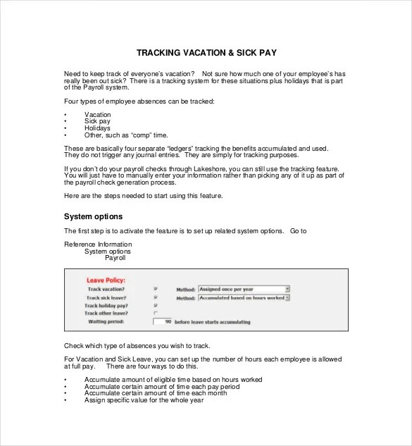 7+ Vacation Tracking Templates - Free Sample, Example Format