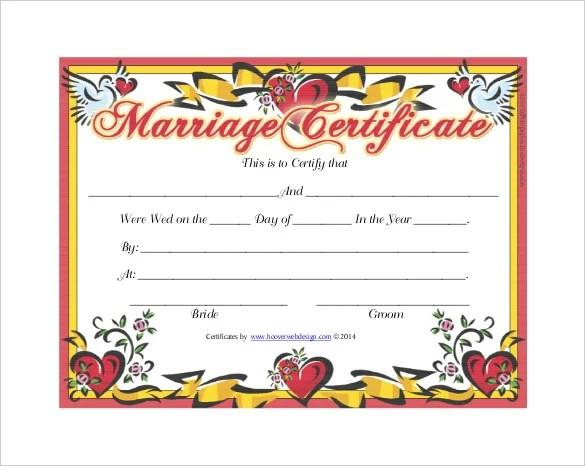30+ Wedding Certificate Templates \u2013 Free Sample, Example, Format - wedding certificate template