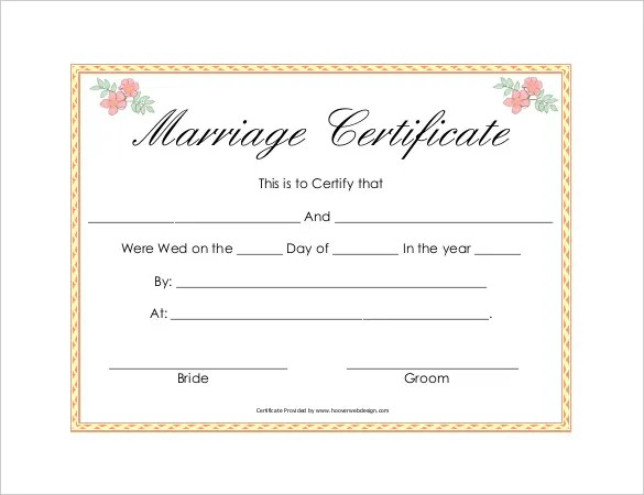 30+ Wedding Certificate Templates u2013 Free Sample, Example, Format - marriage certificate