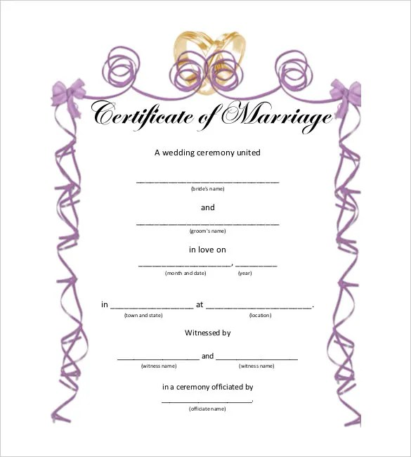 30+ Wedding Certificate Templates \u2013 Free Sample, Example, Format - marriage certificate template