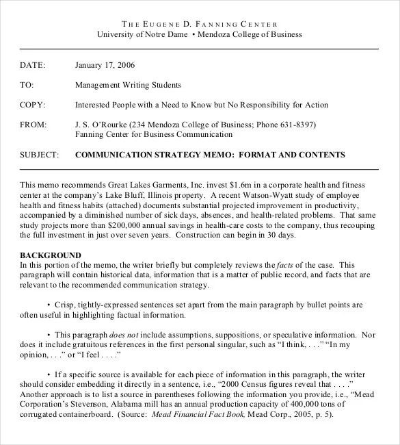 Company Memo Template - 12+ Word, PDF, Google Docs Documents