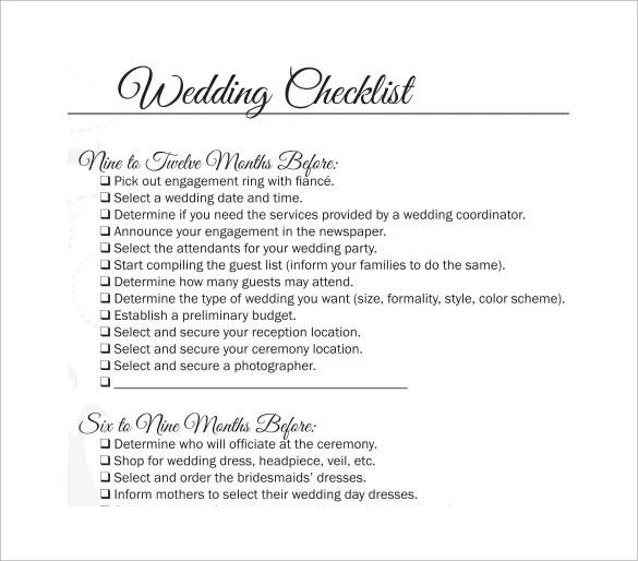 11+ Wedding Checklist Templates \u2013 Free Sample, Example, Format - wedding checklist template