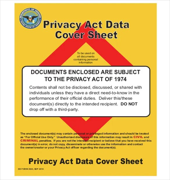 Privacy Act Cover Sheet \u2013 10+ Free Word, PDF Documents Download