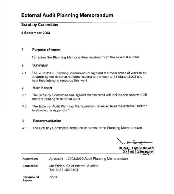 Audit Memo Template \u2013 12+ Word, Excel, PDF Documents Download Free