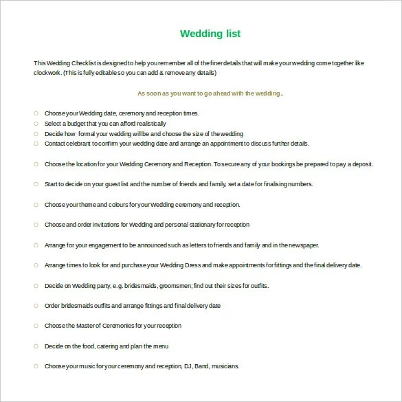 13+ Wedding List Templates u2013 Free Sample, Example, Format Download - free contact list template