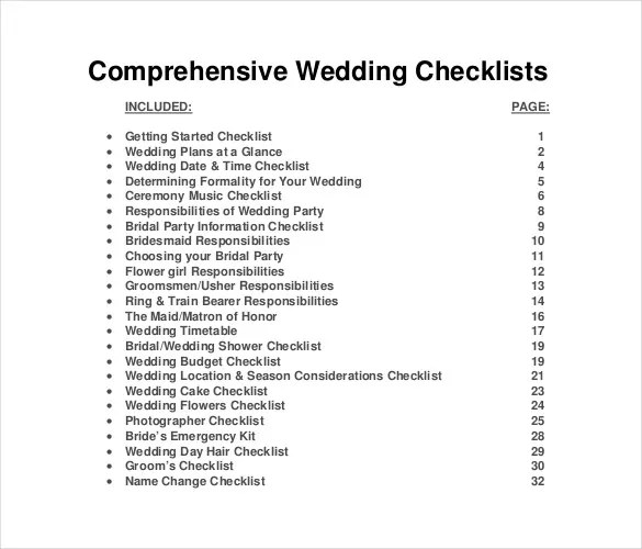 13+ Wedding List Templates \u2013 Free Sample, Example, Format Download - wedding list