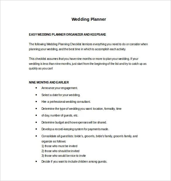 13+ Wedding Planner Templates \u2013 Free Sample, Example, Format