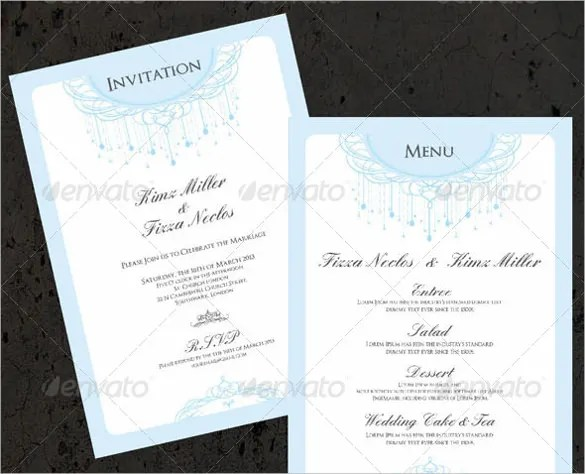 37+ Wedding Menu Template \u2013 Free Sample, Example, Format Download - wedding menu template