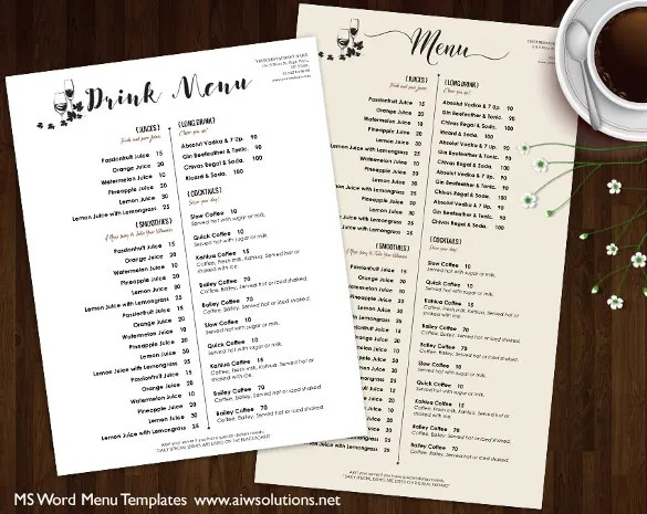 Ms Word Menu Template Samplescsat - sample drink menu template