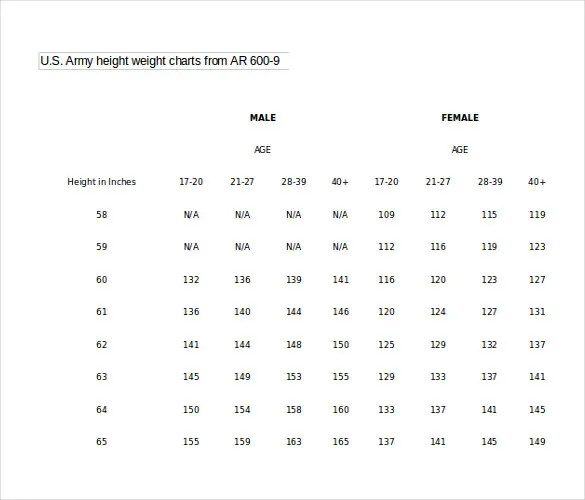 9+ Word Height Weight Chart Templates Free Download Free - army height and weight chart