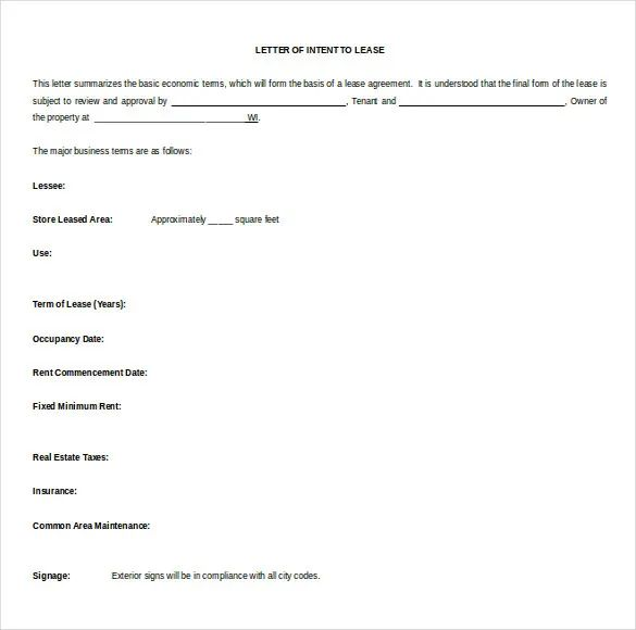 format of a letter of intent
