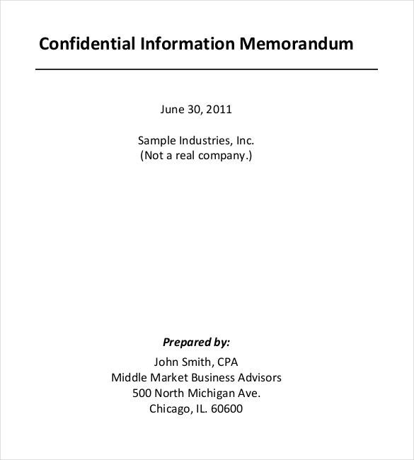confidential information memorandum template - Onwebioinnovate