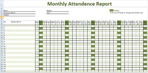 Attendance Tracking Template - 10+ Free Sample, Example Format - attendance chart template