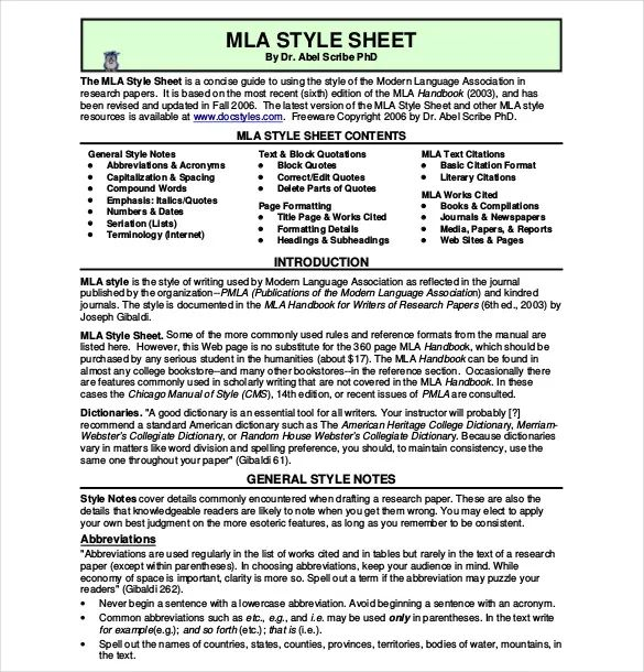 mla cover sheets