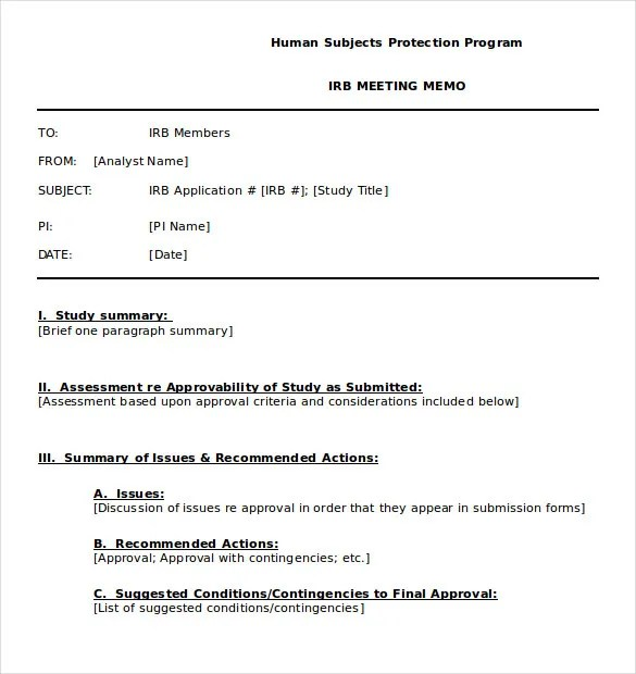 Meeting Memo Template - 13 Free Word, PDF Documents Download - memo format template