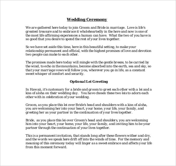 19+ Wedding Ceremony Templates \u2013 Free Sample, Example, Format