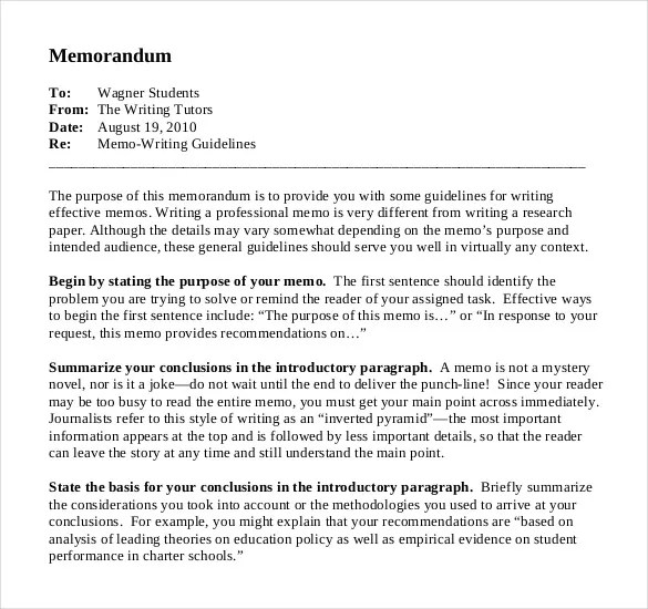 professional business memo example - Onwebioinnovate