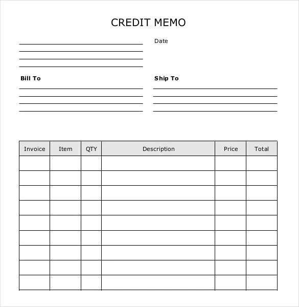 Credit Memo Templates - 12+ Free Word, Excel, PDF Documents - sample credit memo
