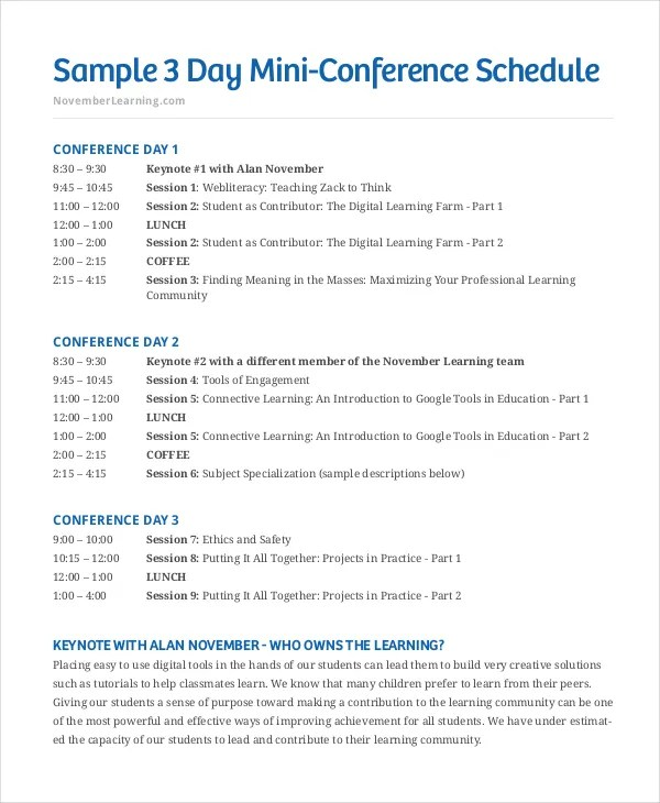 conference schedule template – Sample Conference Schedule Template Example