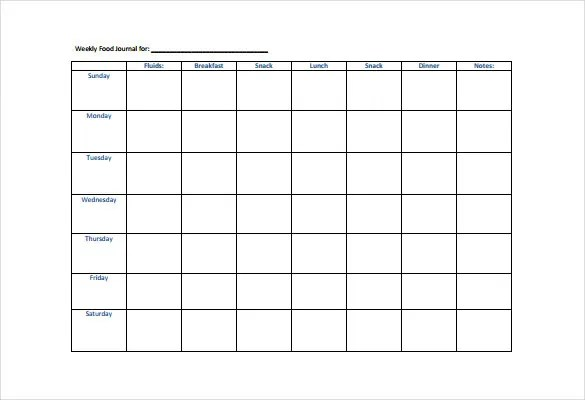 30+ Food Log Templates - DOC, PDF, Excel Free  Premium Templates - weekly food chart template