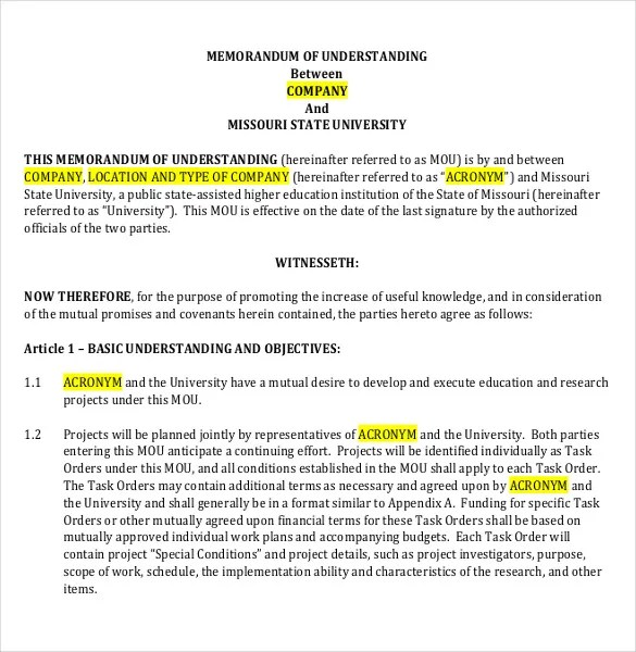 Memorandum of Understanding Template - 14 Free Word, PDF Documents