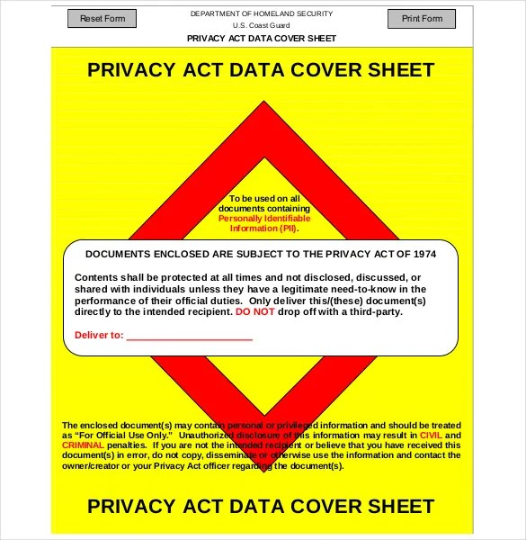 12+ Privacy Act Cover Sheet Templates \u2013 Free Sample, Example, Format
