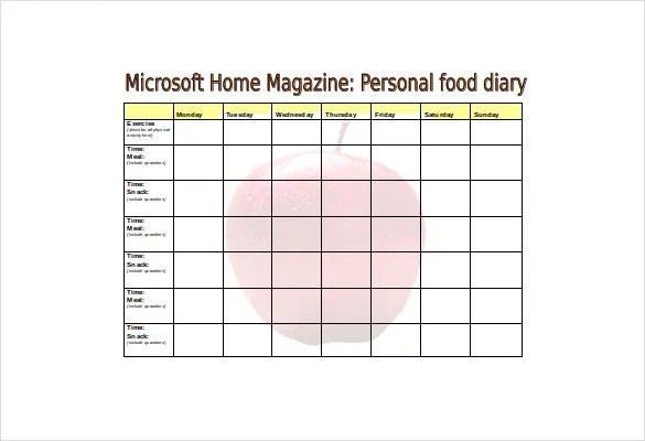 Food Log Template - 30+ Free Word, Excel, PDF Documents Free - microsoft word sign template
