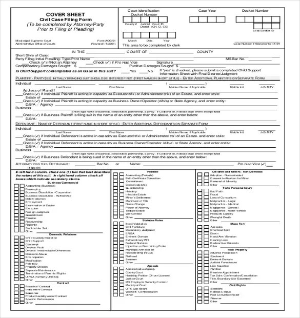 Civil Cover Sheet Templates - 12+ Free Sample, Example, Format - cover sheet example