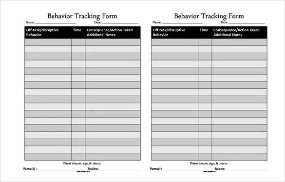 10+ Behavior Tracking Templates \u2013 Free Sample, Example Format - behavior log examples