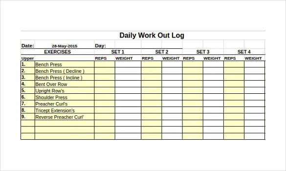 Workout Log Template \u2013 14+ Free Word, Excel, PDF, Vector EPS Format