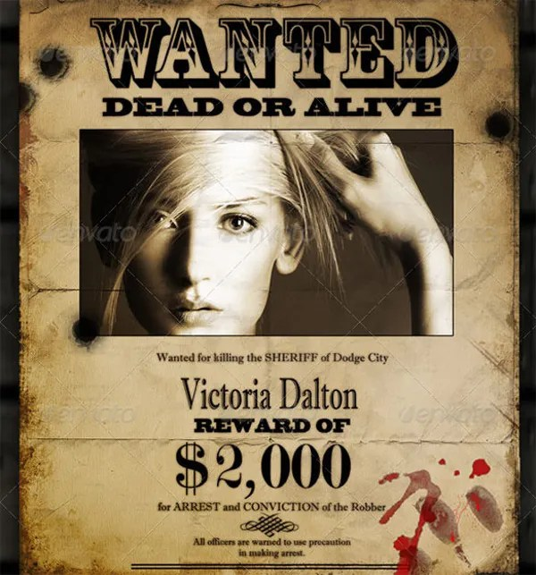 16+ Wanted Poster Templates - Free Sample, Example, Format Free - example of a wanted poster