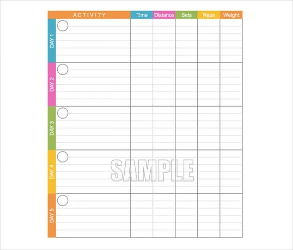 Sample Workout Log Sheets - workout program sheet