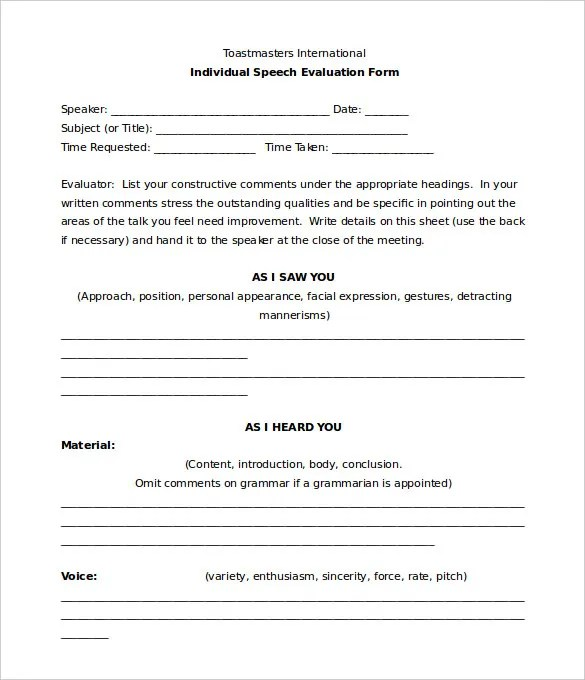 Toastmaster Evaluation Template u2013 20+ Free Word, PDF Documents - evaluation form in word