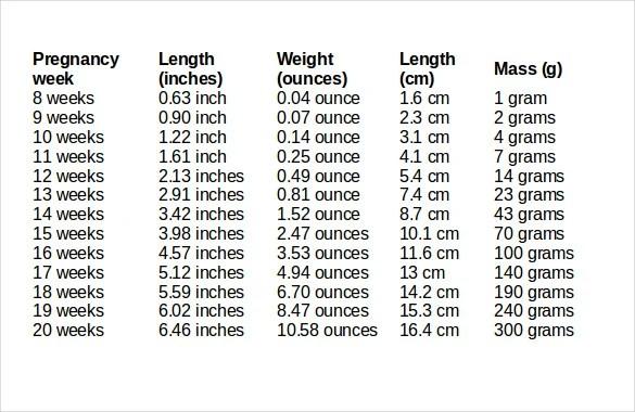 Baby Weight Chart Colbro