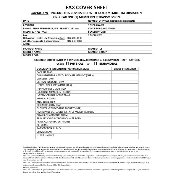 12+ Confidential Cover Sheet Templates \u2013 Free Sample, Example
