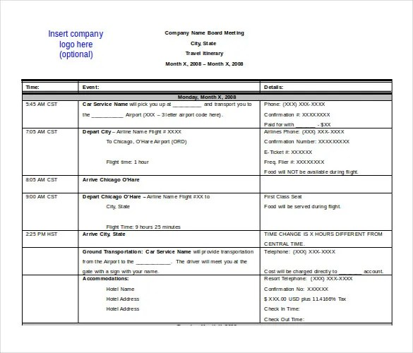 template for travel itinerary word - Ozilalmanoof