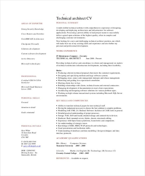 cv architect software docx pdf