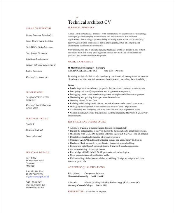 cv architect software docx pdf