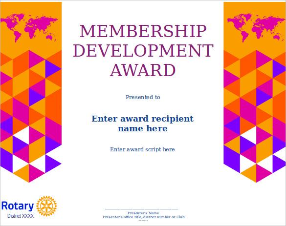 Membership Certificate Template u2013 15+ Free Word, PDF Documents - awards template word