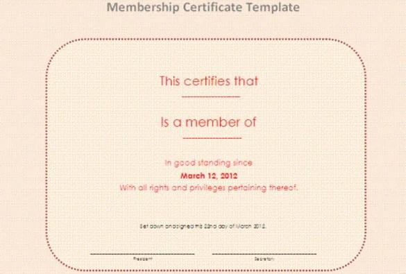 Membership Certificate Template u2013 15+ Free Word, PDF Documents - certificate template doc