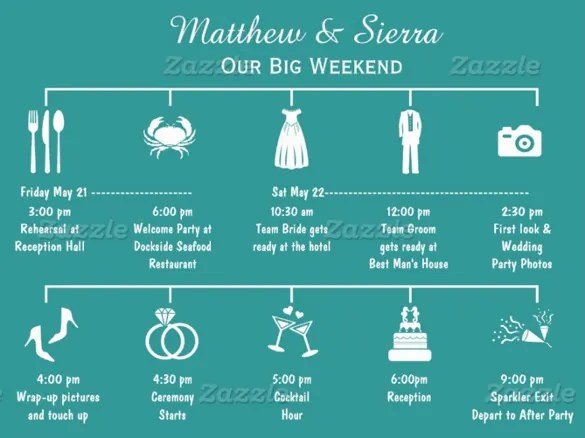 Wedding Reception Itinerary Examples Images - Wedding Decoration Ideas - birthday itinerary template