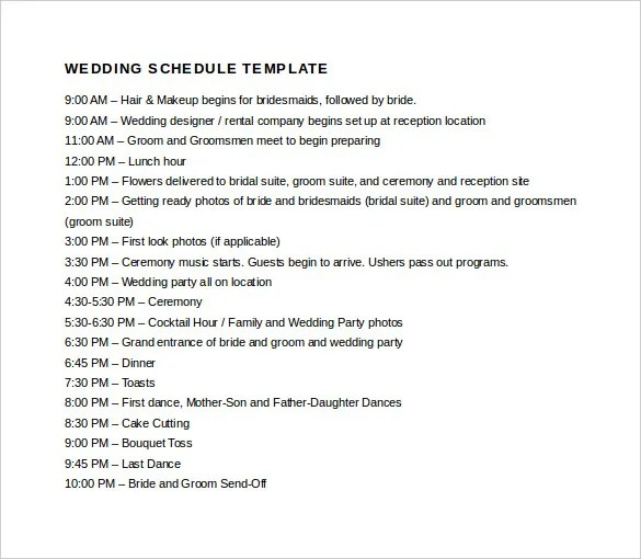 20+ Wedding Schedule Templates \u2013 Free Sample, Example Format - wedding schedule templates