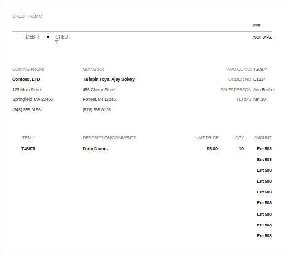 12+ Credit Memo Templates u2013 Free Sample, Example, Format Download - sample credit memo