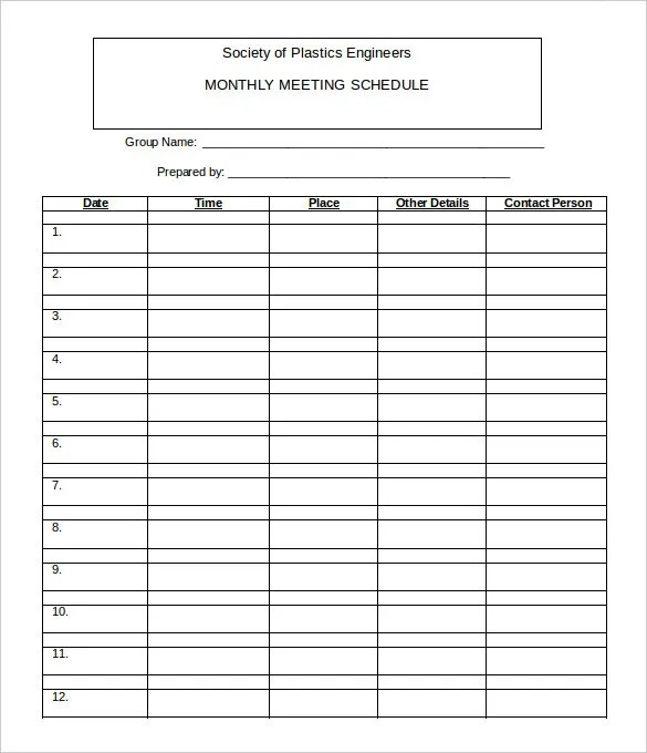 21+ Monthly Work Schedule Templates - PDF, DOC Free  Premium