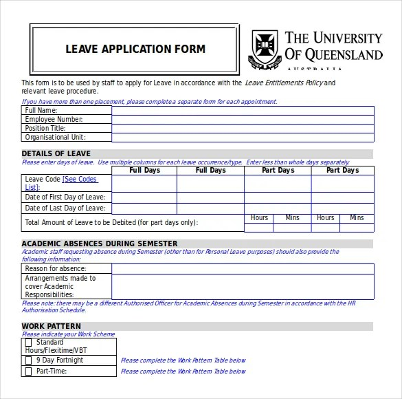 ... Employee Leave Form 5 Time And Attendance Forms Hr Templates   Format  Of Leave Application Form ...  Employee Leave Application Form