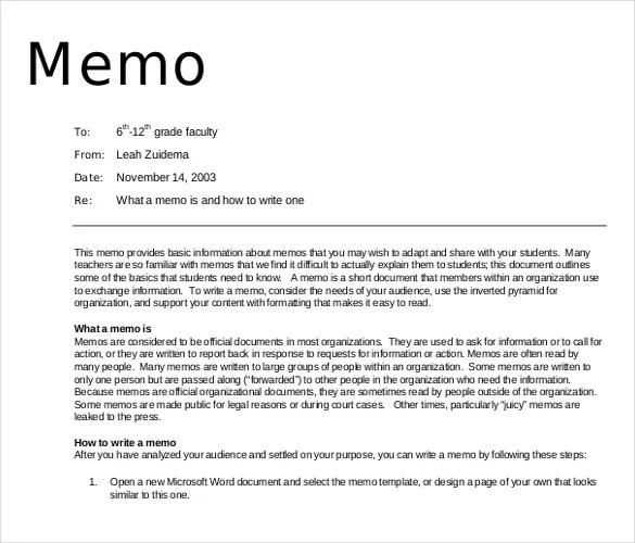 16+ Professional Memo Templates \u2013 Sample Word, Google Docs Format